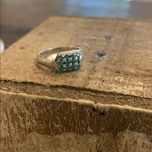 Emerald ring with 925 silver size 9